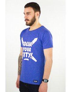 t-shirt tacheté bleu